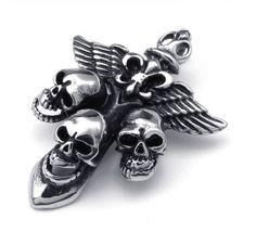 Крест подвеска - кулон, черепа, крылья и королевская лилия