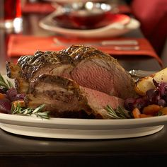This spice-and-mustard-coated beef roast serves 12 with just 30 minutes of hands-on prep. Serve it with sweet carrots and a savory, yummy red onion compote for a traditional Christmas dinner. Serve it with: Honeyed Carrots and Beets and Red Onion Compote