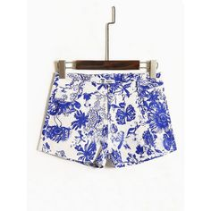Blue White Street Flowers And Birds Print Cotton Shorts ❤ liked on Polyvore