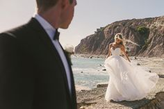 Glamorous Beach Wedding Portraits | Vitaly M Photography | Black Tie Coastal Wedding with Classic Beach Details
