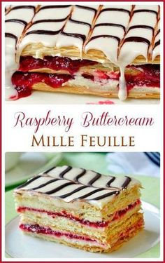 Raspberry Buttercream Mille Feuille - another of our Vachon cakes inspired recipes. They are easier than you think using store bought frozen puff pastry! #easydessert #puffpastry