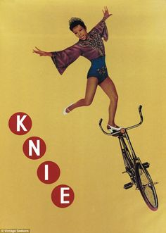 "1962 original Swiss vintage poster for the Swiss National Circus, titled ""Knie."" Depicting the famous bicycle acrobat Lili Yokoi. Vintage Advertising Posters, Vintage Advertisements, Vintage Posters, Vintage Art, Vintage Ladies, Poster Retro, Circus Poster, Atelier Theme, Fürstentum Liechtenstein"