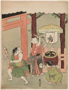 Children's Dance at the Inari Festival  初午の子供神楽 Japanese Edo period about 1768–69 (Meiwa 5–6) Artist Suzuki Harunobu (Japanese, 1725–1770)