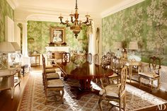 Cool Traditional Dining Room by David Easton Inc. and Addison Mizner in Palm Beach, FL The post Traditional Dining Room by David Easton Inc. and Addison Mizner in Palm Beach, F… appeared . Architectural Digest, Florida Mansion, Beach Mansion, Palm Beach, Chinoiserie Wallpaper, Of Wallpaper, Gracie Wallpaper, Metallic Wallpaper, Chinoiserie Chic