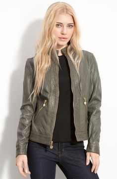 Cutout Trim Leather Jacket - Lyst