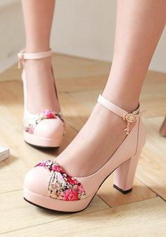 Pink Round Toe Chunky Bow Buckle Sweet High-Heeled Shoes – Best Of Likes Share Cute Heels, Lace Up Heels, Pumps Heels, Stiletto Heels, High Heels, Floral Heels, Kawaii Shoes, Studded Heels, Looks Chic