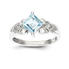 10k White Gold Aquamarine & Diamond Ring , - Sparkle & Jade - 1