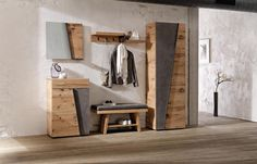 Garderobe von VOGLAUER Entry Way Design, Corner Wall, Wardrobe Design, Wooden House, Metal Wall Decor, Closet Bedroom, Bathroom Cabinets, Metal Walls, Decoration