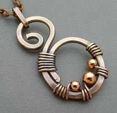 Oxidized Copper Swirl #Necklace with Copper Beads.