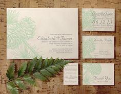 Elegant Pine Cones Wedding Invitation Set/Suite by InvitationSnob
