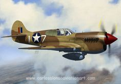 Curtiss P-40K, 66th FS, 57th FG, North Africa, 1943. Aviation Art, North Africa, Airplanes, Painting & Drawing, Fighter Jets, Aircraft, Digital Art, African, Gallery