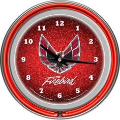 "Red Pontiac 14.5"" Firebird Double Ring Neon Wall Clock"