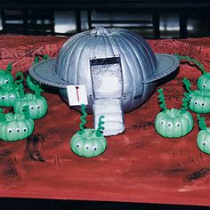 Cute spaceship and aliens pumpkins @Connie Hamon Brzowski Sikma PV pumpkin carving contest?