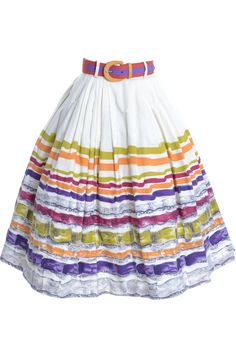vintage skirt in a pristine crisp cotton with beautiful multi-colored abstract design with stripes. Junior House Milwaukee skirt that has belt loops so we are including a bright color block belt that we think goes well with the skirt! Vintage Skirt, Vintage Dresses, Vintage Outfits, Vintage Clothing, 1950s Skirt, Valentino Dress, Skirt Belt, Stripe Skirt, Cotton Skirt