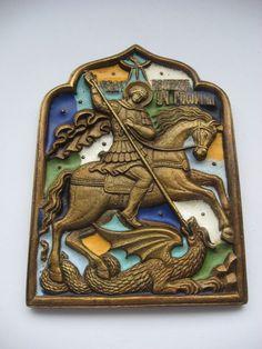 Russian Orthodox Brass Icon.