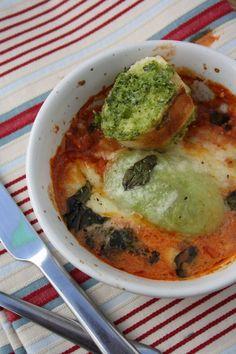Tricolor Baked Avocado with Pesto Garlic Bread