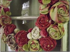 Fabric rose wreath from Lou Cinda  at Tattered Hydrangeas