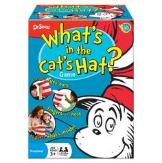 """What's in the Cat's Hat? A classic Q-and-A game, this amazing activity will have kids begging for """"just one more round."""" One player hides an object of their choice inside the hat, and the other players use questions, clues, and the hat's fun interactive features to discover what it is. Is it something we eat? Where does it belong? Try to figure it out by feeling the the hat with your elbows, poking your finger through a hole, or viewing it through a magic crystal window."""
