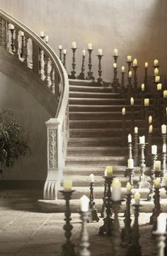 candlelight adorned staircase