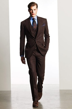 Maybe something vaguely like this? (Ralph Lauren Fall 2010 Chocolate brown suit.)