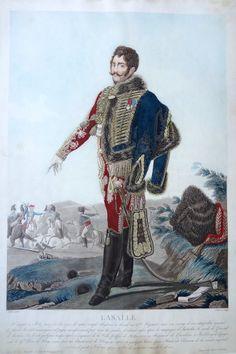 """Antoine Lasalle """"le général hussard"""" (né le 10 mai 1775 à Metz - mort à la bataille de Wagram le 6 juillet 1809) - Général de division - gravé par Charon d'après Aubry et publié chez Jean - MAS Estampes Anciennes - Antique Prints"""
