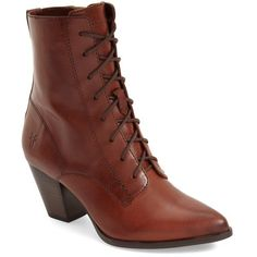 """Frye 'Renee' Lace Up Boot, 2 3/4"""" heel ($348) ❤ liked on Polyvore featuring shoes, boots, ankle booties, ankle boots, redwood leather, leather ankle boots, short boots, high heel booties and frye booties"""