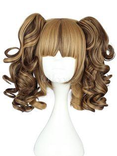 Sweet Brown Rayon Lolita Wig Curls Two Ponytails Pelo Lolita, Lolita Hair, Lolita Dress, Costume Wigs, Cosplay Wigs, Kawaii Wigs, Pelo Anime, Two Ponytails, Mode Kawaii