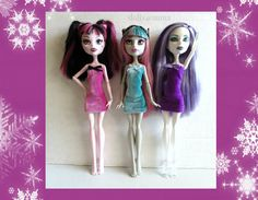 Monster High Doll Clothes - veel van 3 handgemaakte Custom Velvet jurken #27 - door dolls4emma