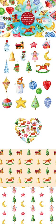 Watercolor Christmas decorations set. Christmas Patterns. $7.00
