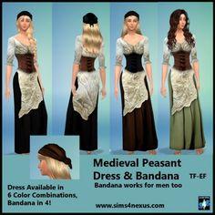 Medieval Peasant Dress & Bandana at Sims 4 Nexus via Sims 4 Updates