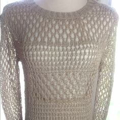 Sweater Taupe colored open stitching sweater, long sleeves, hi low style! Cami or barlette needs to be worn under it!. (PB2) Christian Siriano Sweaters Crew & Scoop Necks
