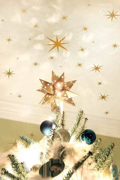 This Starry Night Christmas Tree ends with vinyl stars on the ceiling!