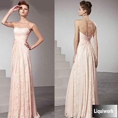 Beautiful Pink Beaded Lace Illusion Formal Prom Evening Ball Dresses SKU-122921