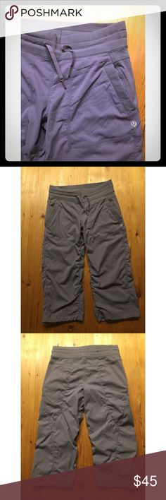 Lululemon athletica pants Lululemon athletica comfy gray Capri pants in gray with two front pockets. Size 6. In excellent condition with no stains/tears. From smoke free/pet free home lululemon athletica Pants