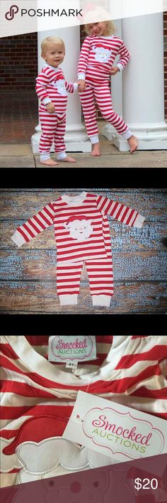 Christmas Santa pajamas super cute! Brand: Smocked Auctions  Size:  7   photo of the 3T is shown but you will be sent a size 7.   This red and white striped pajama set has Santa appliqued on the front.  This is NEW with tags! Perfect for Christmas and who doesn't l be cute Christmas Pajamas!! The price is firm Smocked Auctions Pajamas Pajama Sets