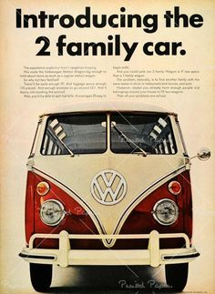 """1966 ad Volkswagen Station Wagon Bus.  First line reads, """"The population explosion hasn't caught us sleeping."""""""
