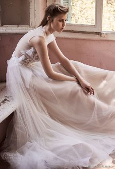 christos costarellos spring 2018 bridal sleeveless heavily embellished bodice tulle skirt romantic soft a line wedding dress sheer button back chapel train (77) mv -- Costarellos Spring 2018 Wedding Dresses