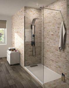 Serio Italian shower tray and Lago wall of Aquarine - Bathroom 01 Diy Bathroom Remodel, Shower Remodel, Bathroom Interior, Modern Bathroom, Small Bathroom, White Bathroom, Master Bathroom, Guys Bathroom, Bathroom Canvas