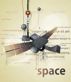 Abstract space station satellite with wings