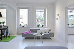 Grey couch in minimalist setting