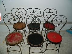 Antique Wrought Iron Ice Cream Parlor Chairs w/ Heart Shaped Backs