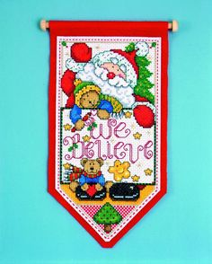 Design Works Counted Cross Stitch Christmas Banner Kit -WE BELIEVE IN SANTA