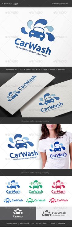 Car Wash Logo — Vector EPS #maintenance #shampoo • Available here → https://graphicriver.net/item/car-wash-logo/8742683?ref=pxcr