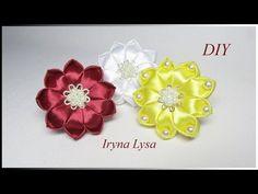 МК: Квіти з атласних стрічок для волосся, flowers satin ribbons DIY - YouTube
