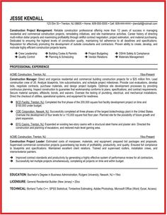 construction supervisor resume sample ideas httpwwwjobresumewebsite