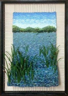 "Dimensional Weaving - Martina Celerin fiber art - ""Heading for Open Water"" Weaving Projects, Weaving Art, Tapestry Weaving, Loom Weaving, Hand Weaving, Art Projects, Art Fibres Textiles, Textile Fiber Art, Diy Tricot Crochet"