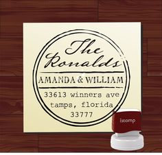 Vintage design Custom Rubber Stamp - Round SELF INKING Return Address Wedding Stationery Family Stamper - Style 6024ADDRESS