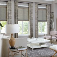 Give living room windows elegant texture and polished style with woven wood shades. Give living room windows elegant texture and polished style with woven wood shades. Living Room Decor Curtains, Bedroom Windows, Living Room Windows, Living Room Window Treatments, Curtain Ideas For Living Room, Large Window Treatments, Contemporary Window Treatments, Bedroom Curtains With Blinds, Bay Windows