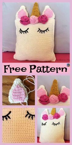 Cute Crochet Unicorn Pillow – Free Patterns #freecrochetpatterns #unicorn #pillow #giftidea