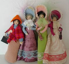 Vintage Handmade Miniature Clothes Pin Pipe Cleaner Dolls Doll House Set of 6